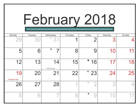 Printable Calendar 2018 With Us Holidays | february 2018 calendar us with holidays printable