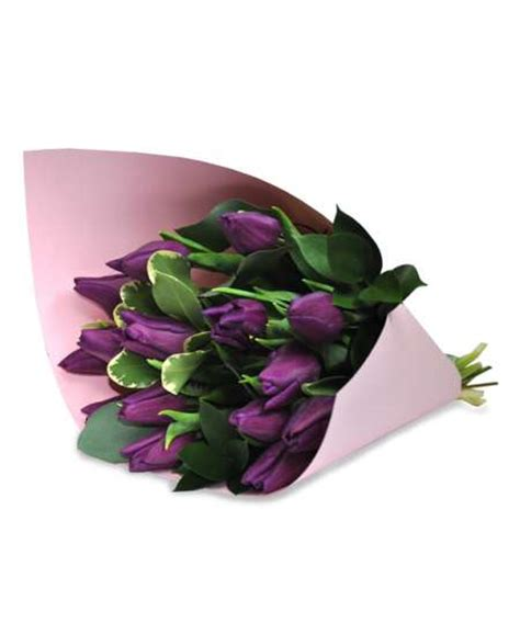 Pink Craft Paper - bouquet of purple tulips in pink craft paper flowerscity 174