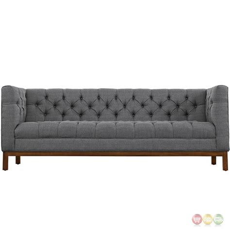 Panache Vintage Square Button Tufted Upholstered Sofa Gray Tufted Upholstered Sofa
