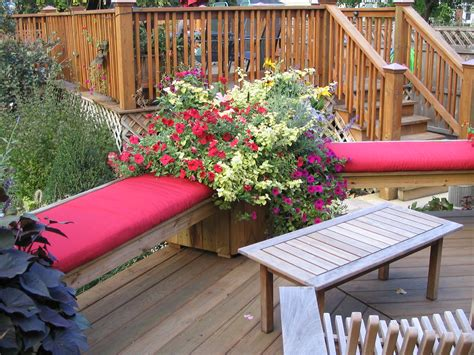 deck benches and planters share