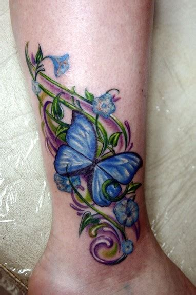 butterfly tattoo vine butterfly with flowers vines tattoos