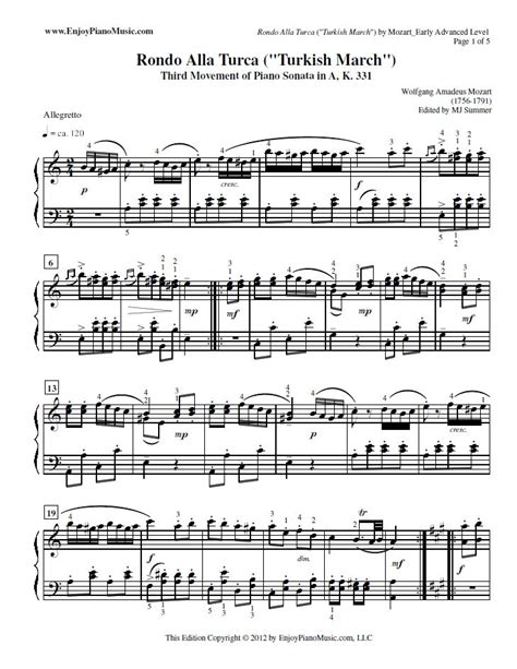 tutorial piano turkish march 17 best images about classical piano sheet music on