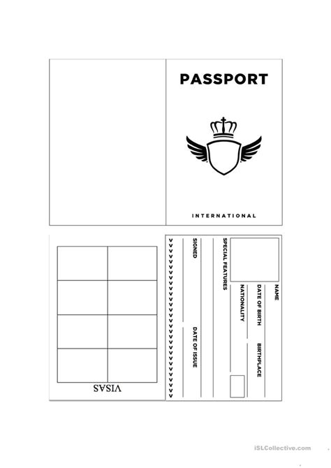 activity pass card template passport template worksheet free esl printable