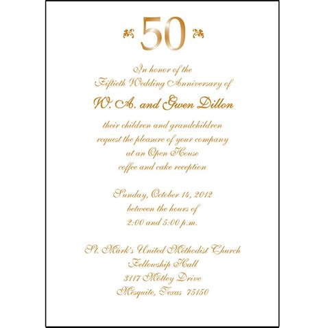 50th wedding invitation templates 25 personalized 50th wedding anniversary invitations