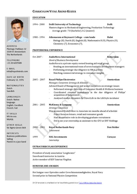 canadian cv format  planner template