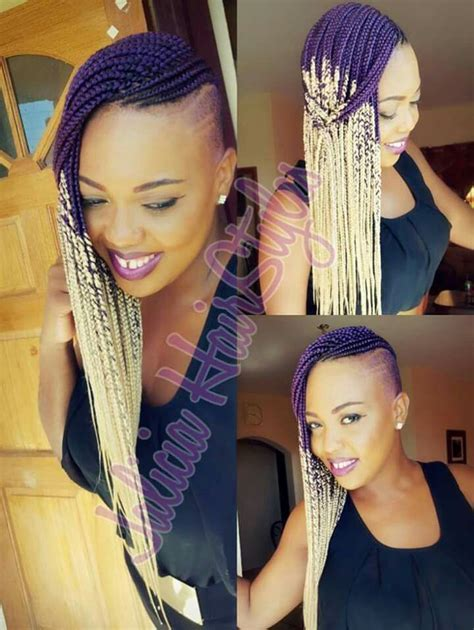 braided extentions with shaved sides ombre box braids shaved sides natural hair pinterest