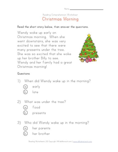 christmas reading worksheet