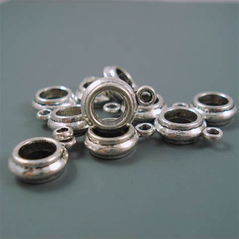 bead holder 6mm charm holder bead for leather or cord narrow by