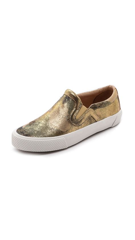 gold slip on sneakers zoe barney slip on sneakers in gold golden lyst