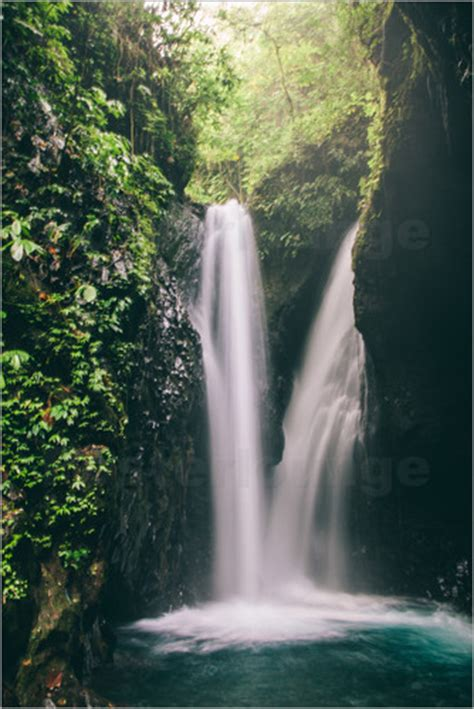 Bedroom Canvas Waterfall On The Jungle With Plants And Vegetation Bali