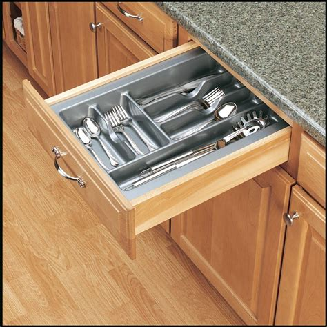 Kitchen Cabinet Inserts Storage Rev A Shelf 2 375 In H X 14 25 In W X 21 25 In D Medium Glossy Silver Cutlery Tray Drawer