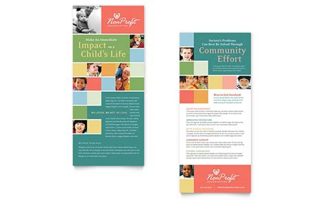 non profit association for children rack card template design