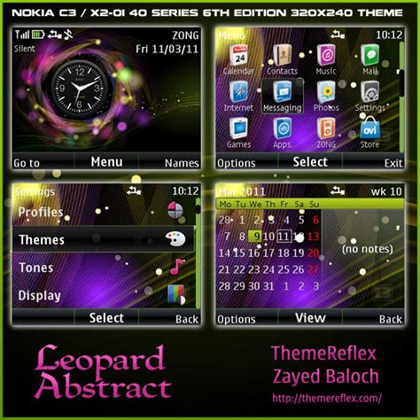 themes for mobile x2 01 leopard abstract clock theme for nokia c3 x2 01