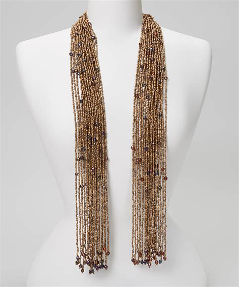 brown beaded scarf necklace zulily