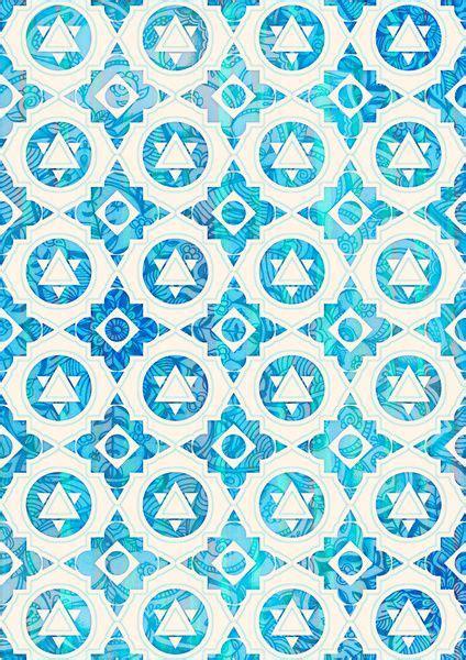 pattern aqua blue aqua blue off white geometric pattern art print blue