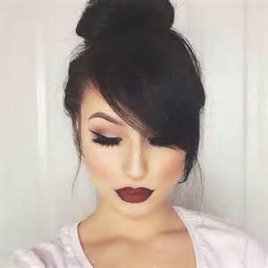 pic of black side swept bangs and bun hairstyle 20 bun hairstyles with bangs hairstyles haircuts 2016