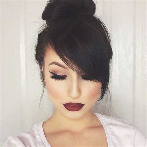 20  Bun Hairstyles with Bangs   Hairstyles & Haircuts 2016