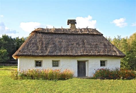 Rural Cottages Ancient Traditional Ukrainian Rural Cottage With A Straw