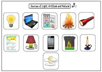 sources of light worksheets artificial and by ms