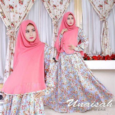 Gamis Trendy Motif Bunga Wanita trend busana muslim gamis katun motif bunga terbaru