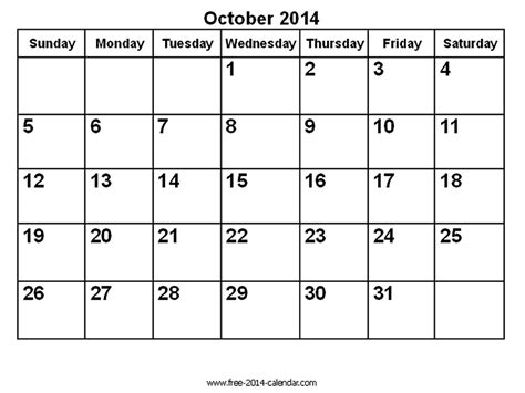 october 2014 calendar template october 2014 calendar printable template http www