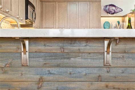 Home Decorators Cabinets mixing taupe with rustic elements for a modern coastal
