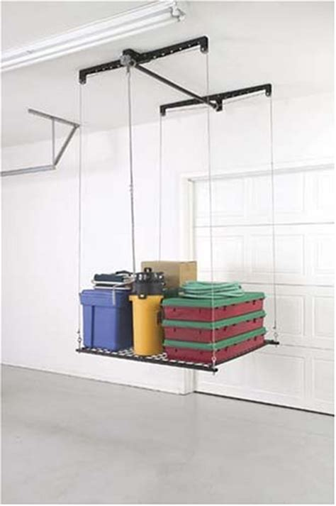 Ceiling Storage Pulley System by Racor Heavy Duty Cable Lift Storage Rack Overhead Ceiling