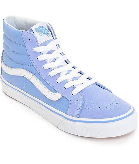 light blue womens vans shoes vans sk8 hi slim bel air blue white shoes womens at