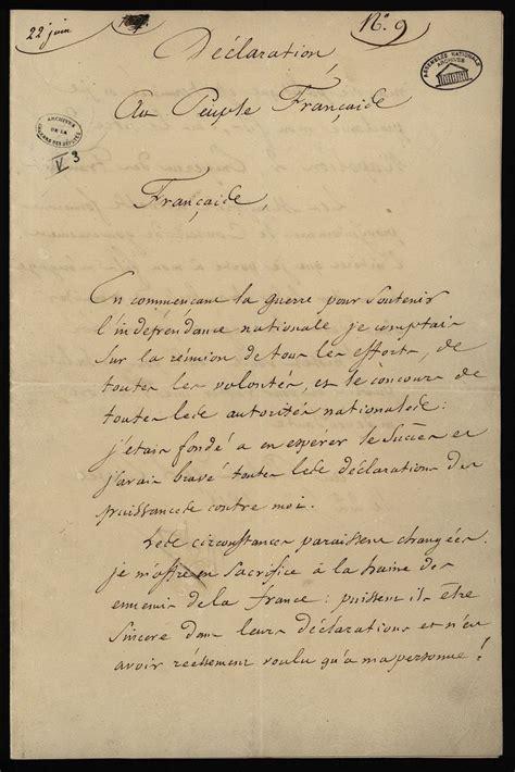 lettere di napoleone a giuseppina lettre d abdication de napol 233 on 22 juin 1815 napol 233 on