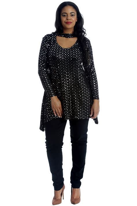 swing style tops new womens top plus size swing style ladies polka dot foil
