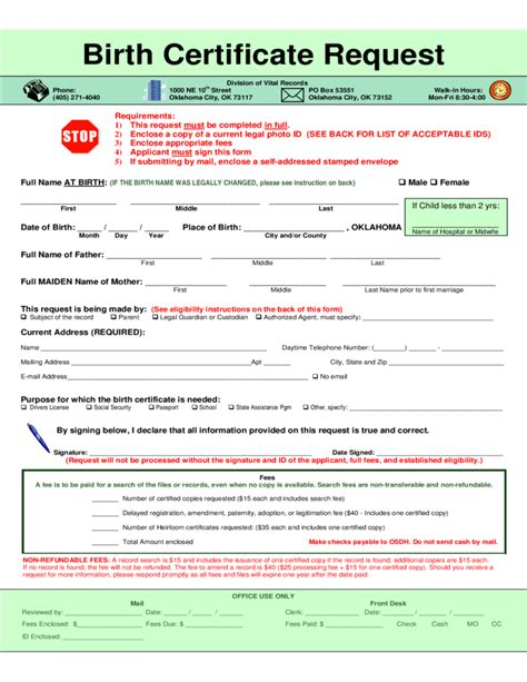 Oklahoma Birth Records Birth Certificate Request Oklahoma Free