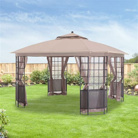 Outdoor Patio Gazebo 12x12 Replacement Canopy And Net For Bay Grid 12x12 Gazebo Riplock Garden Winds Canada