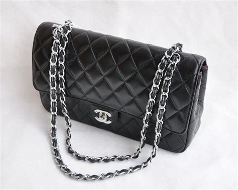 Chanel Quilted Bag Silver Chain by Chanel Classic 2 55 Series Black Lambskin Silver Chain