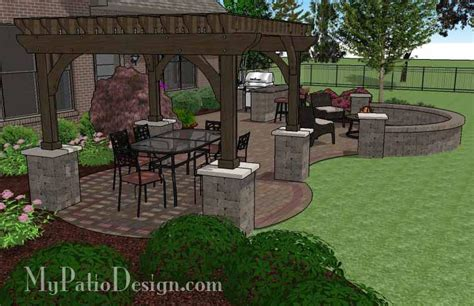 Large Patio Designs Large Curvy Patio Design With Grill Station And Pergola