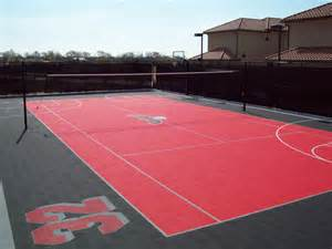 Backyard Multi Sport Court Home Volleyball Courts Exhibit Sports