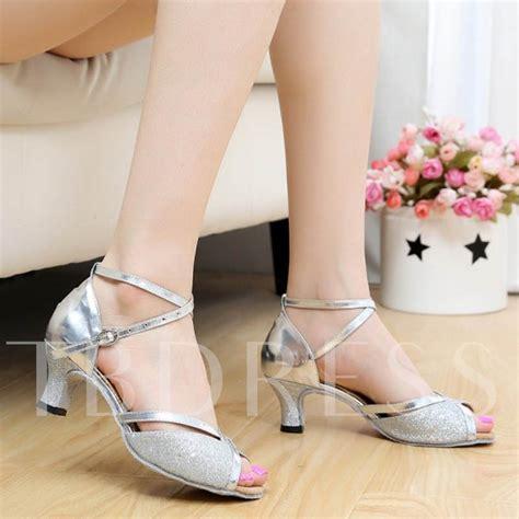 Chunky Heel Peep Toe Sandals peep toe chunky heel sequins hollow s sandals