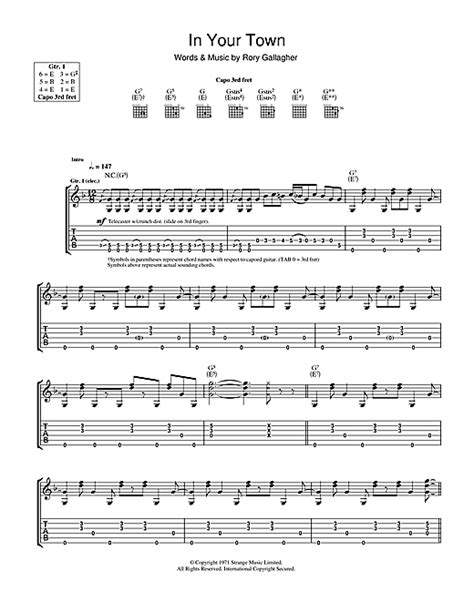tattoo lady rory gallagher chords rory gallagher in your town sheet music
