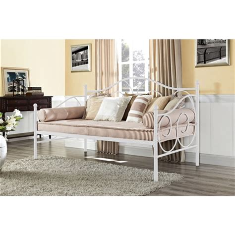 White Metal Daybed Size White Metal Daybed With Scrolling Detailing 600 Lb Weight Limit