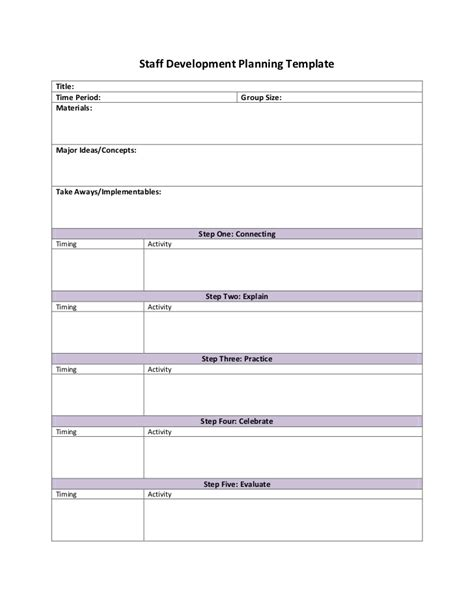 Staff Planning Template by Staff Development Planning Template