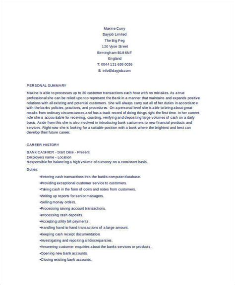 Resume Sle For Cashier by 51 Resume Format Sles