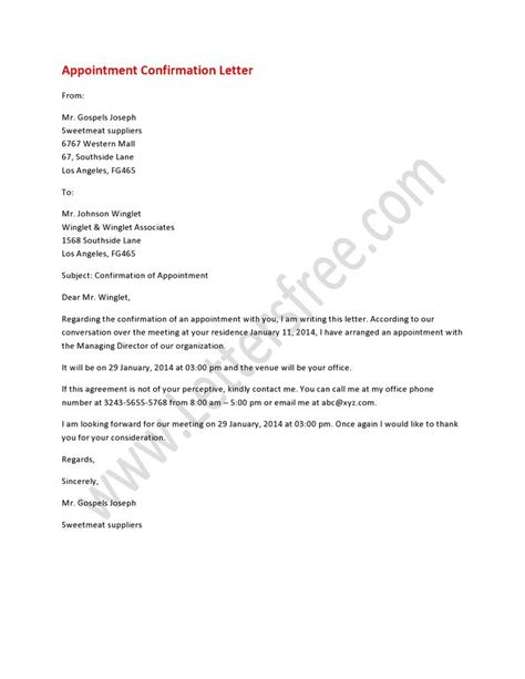 Business Letter Sle Meeting Confirmation 8 Best Images About Appointment Letters On It Is And A Business