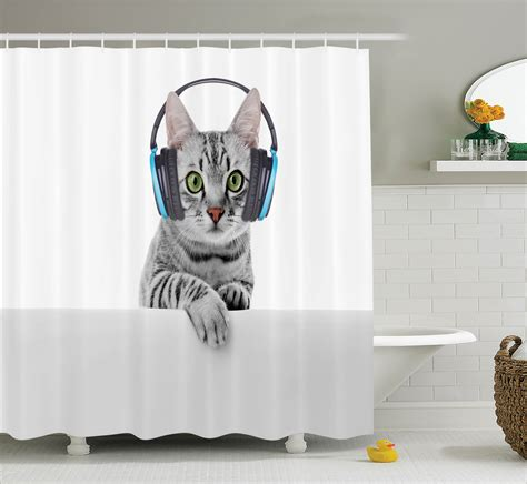 cat in bathroom cat shower curtain animal listening music bathroom decor
