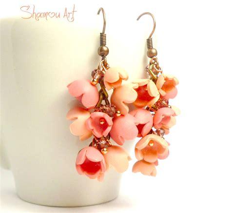 fimo fiori orecchini fimo con fiori a canella pesca gioielli
