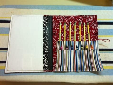 How To Get Crayon Out Of Fabric Chair by Boys Notebook And Crayon Holder 183 A Roll Up Pouch 183 Sewing