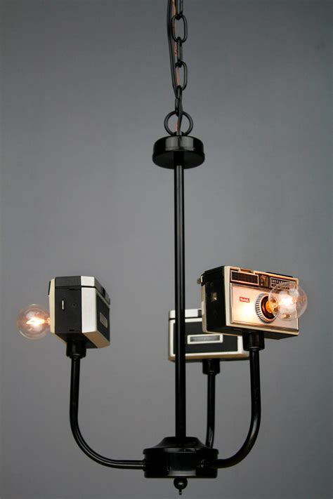 Handmade Vintage Upcycled Camera L Chandelier Office Upcycled Chandelier