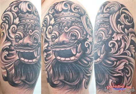 balinese tattoo designs bali barong mask freehand paradise ink