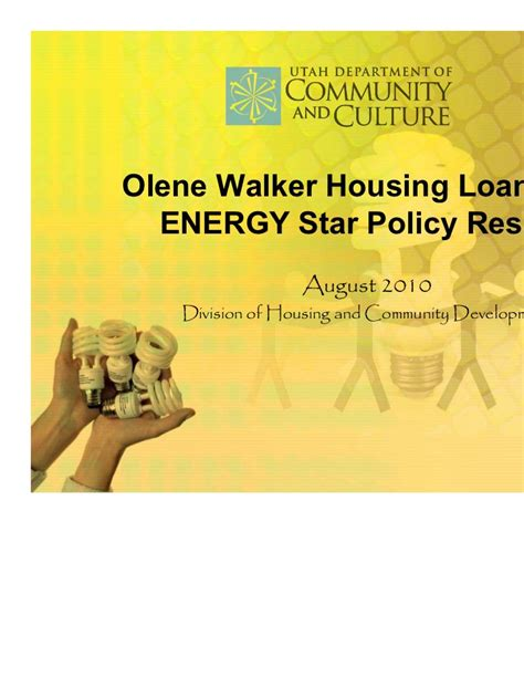 Olene Walker Housing Loan Fund Energy Star Policy Results