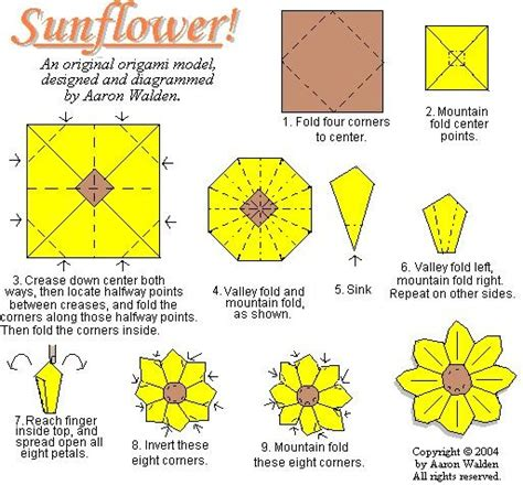 Origami Sunflower Step By Step - sunflower origami diagram origami
