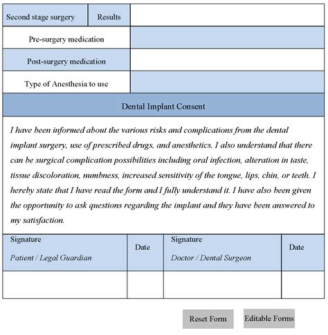 dental consent form dental implant consent form editable forms