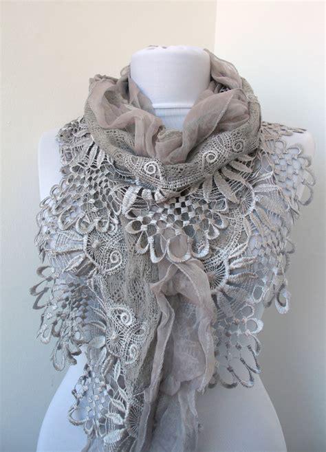 gray lace scarf soft knit fabric scarf cowl scarf shawl